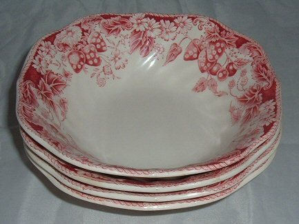 Johnson Brothers Strawberry Fair Square Cereal Bowls - 4