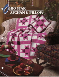 Primary image for Ohio Star Afghan & Pillow Pattern Annies Attic Crochet Quilt & Afghan Club