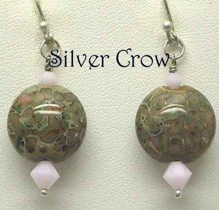 Pink and Sage Green Lentil Lampwork and Pink Swarovski Crystal Earrings