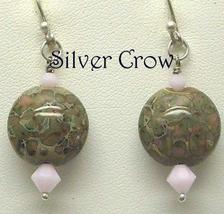 Pink and Sage Green Lentil Lampwork and Pink Swarovski Crystal Earrings - $20.99