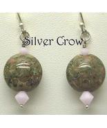 Pink and Sage Green Lentil Lampwork and Pink Swarovski Crystal Earrings - $20.99