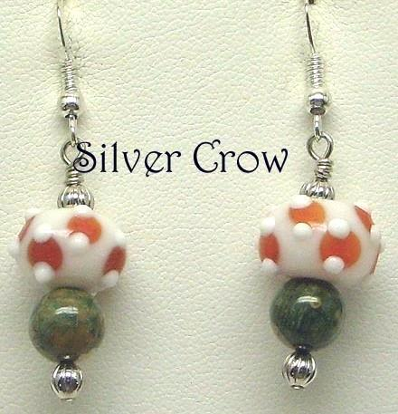White & Orange Lampwork & Mixed Green Gemstone Earrings