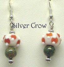 White & Orange Lampwork & Mixed Green Gemstone Earrings - $13.99