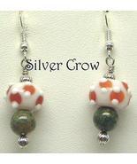 White & Orange Lampwork & Mixed Green Gemstone Earrings - $13.99