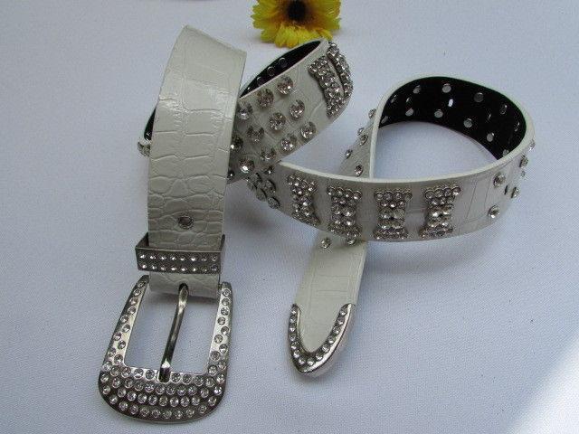 Damen Weiß Kunstleder West Schleifen Gürtel Silber Perlen Bling Groß Schnalle