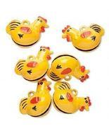 Folk Artsy Yellow Chicken Enamel Brass Bells Charms - 5 - $5.99