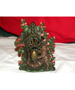 Bank Cast Iron Bears Beehive Flowers Cold Paint... - $50.00