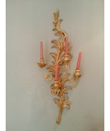 2 Vintage Italian Cream & Gold 4-Lite Candelabra Large Wall Sconces Ital... - $188.09