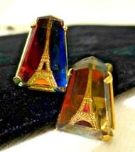 Vintage Triangle Cut Watermelon Crystal Eifel Tower Gold tone Cuff Links... - $72.00