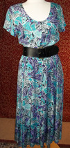 GEORGE GEORGIOU VINTAGE 80s teal purple button front rayon dress M (T38-... - $24.73