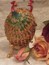 Rainbow Faberge Egg style 24k GOLD Fabergé egg Peacock Trinket Box HANDM... - $299.00