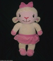 "18"" BIG DISNEY LAMBIE DOC MCSTUFFINS LAMB WHITE PINK STUFFED ANIMAL PLUS... - $20.57"