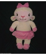 "18"" BIG DISNEY LAMBIE DOC MCSTUFFINS LAMB WHITE PINK STUFFED ANIMAL PLUS... - $20.57"