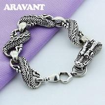 925 Sterling Silver Bracelets Black Dragon Bracelets For Men Fashion Jewelry Gif - $10.24