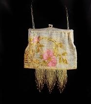 Antique  French cut steel  Fringe Rose purse -Silver Flapper handbag - v... - $175.00