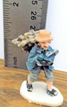 Christmas Village Accessory A Man with a Bundle of Firewood VGCondition Resin  - $6.92