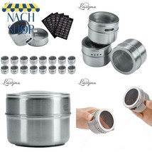 Lmetjma Magnetic Spice Jar Set With Stickers Stainless Steel Spice Tins ... - $27.47
