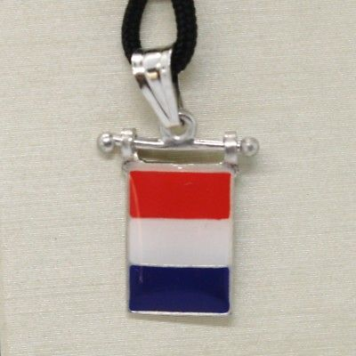 SOLID 925 STERLING SILVER PENDANT WITH NAUTICAL FLAG, LETTER T, ENAMEL, CHARM