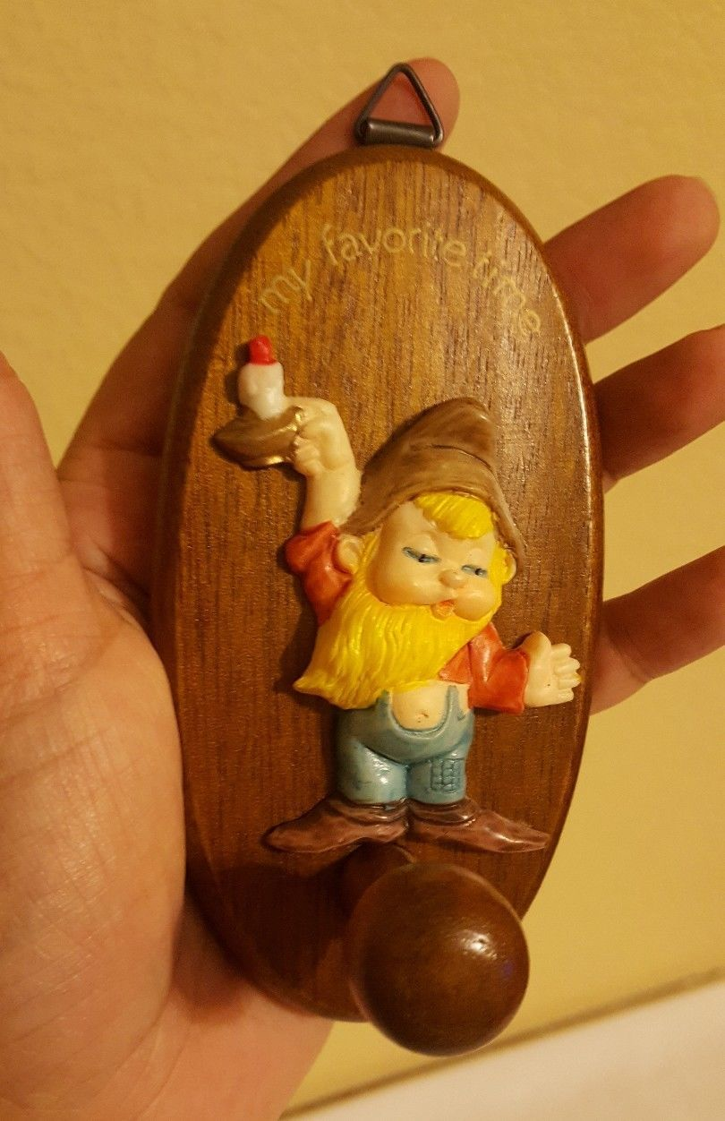 Primary image for Rare Vintage Santa Elf w candle Wood Holiday Decoration Christmas xmas Ornament