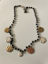 Vintage Signed Chico's Black Beaded Necklace - $6.96