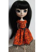 Halloween Pumpkin Pullip Momoko Jenny doll size hand made dress OOAK - $19.97