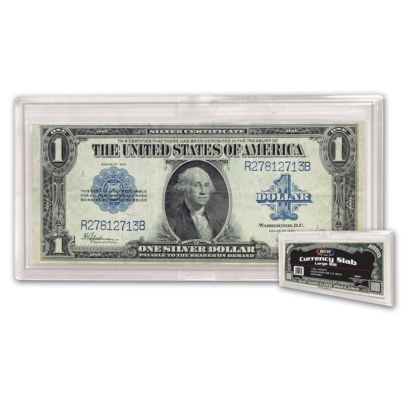 1 Case of (100) BCW Deluxe Currency Slab - Large Bill -   3 1/4 X 7 1/2