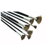 7-Sizes Bristles Fan-Shaped Paint Brushes Long Handle Painting Brush Set - $20.81