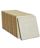 [4x4inch]40 Pcs Pre-Cut Wood Squares Blank,Square Wooden Coasters with R... - $15.86