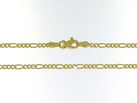 18K GOLD FIGARO CHAIN 2 MM WIDTH 16 INCH LENGTH ALTERNATE NECKLACE MADE IN ITALY