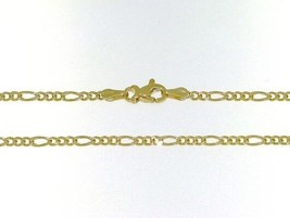 18K GOLD FIGARO CHAIN 2 MM WIDTH 16 INCH LENGTH ALTERNATE NECKLACE MADE IN ITALY image 1