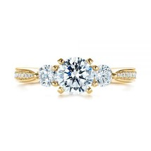 14K Yellow Gold Plated 3/8Ct Round Cut White Diamond Three Stone Engagem... - $78.99