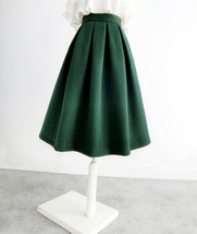 Winter Wool Skirt Dark Green Warm Midi Party Skirt A-line with Pockets Plus  image 2