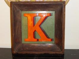 VINTAGE FRAMED TRIDIMENSIONAL LETTER K ON ENAMEL - $79.00