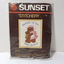"""Mother of the Year Sunset Stitchery Crewel Kit 4"""" x 5"""" Bears Opened  - $8.79"""