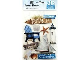 Paper House Beach Glittered Dimensional Stickers #STDM-0085