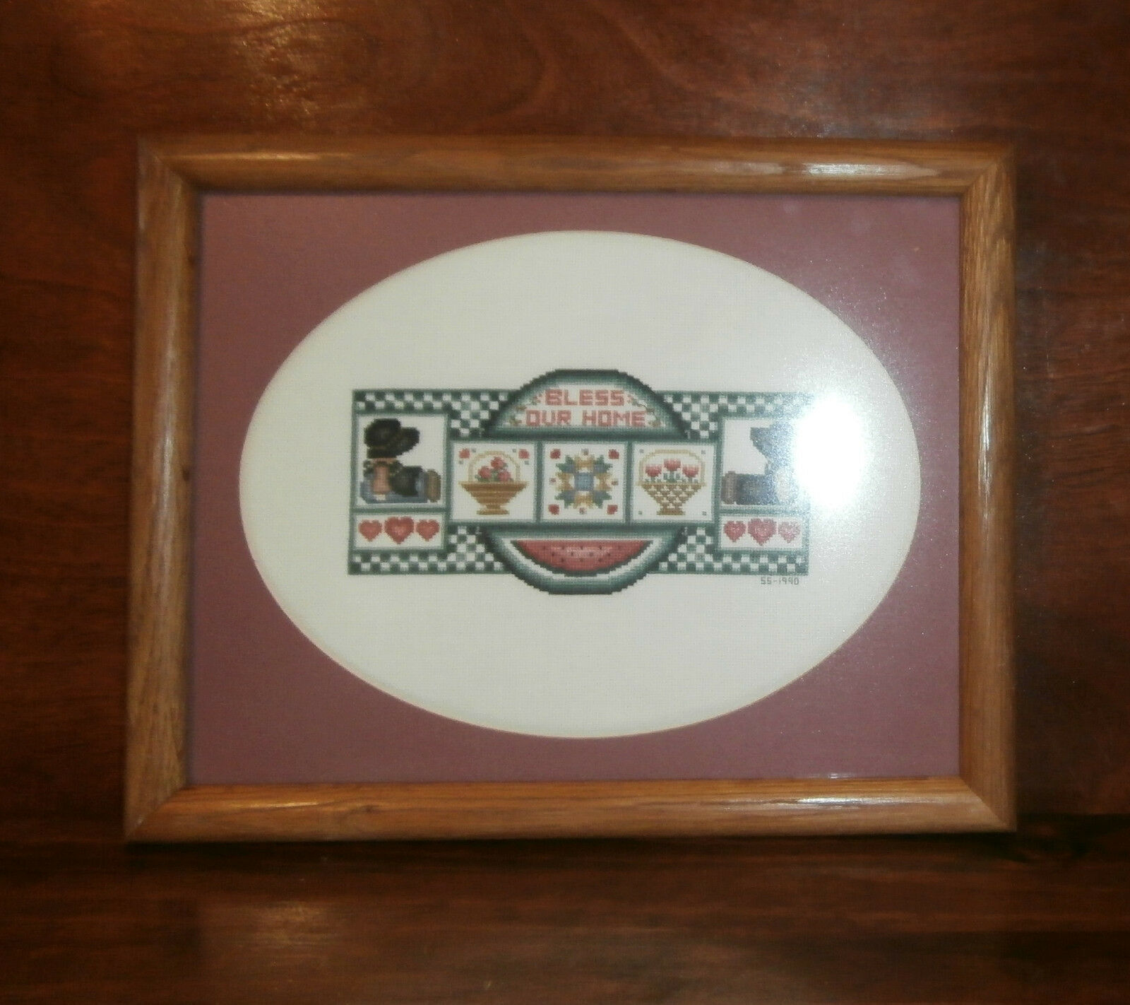 "Primary image for Bless Our Home Finished Framed Cross Stitch 15.5"" x 12.5"" Dolls Hearts Country"