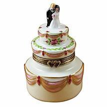 French Limoges Boxes Boutique Bride & Groom Wedding Cake - Limoges Porcelain Fig - $250.00