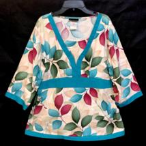 Cherokee Scrub Shirt Sz Medium Floral Gold Accent Tie Back Nurse Dental Vet - $22.99