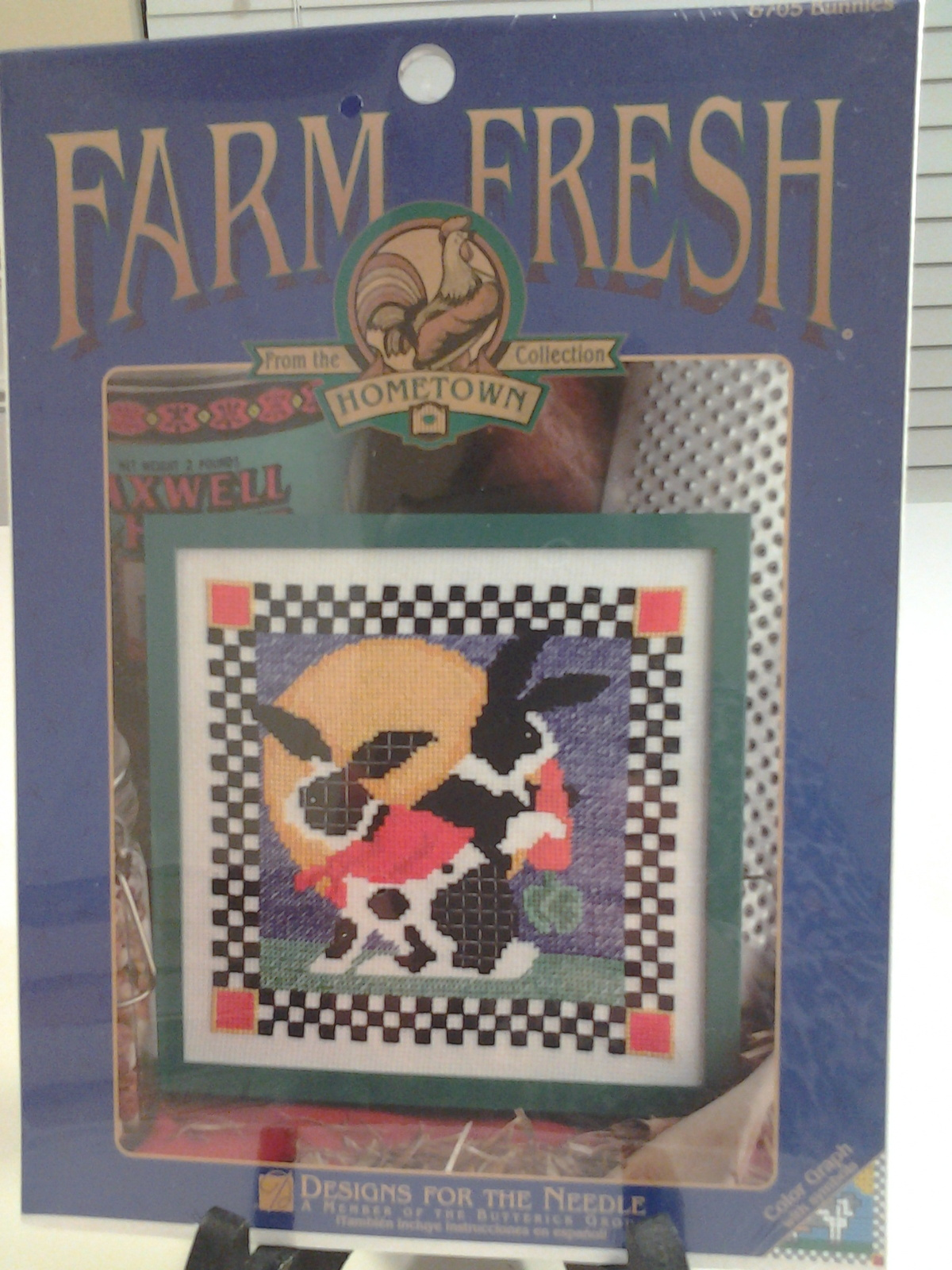 "Designs for the Needle Farm Fresh Rabbit Stitch Kit Hometown Collection 7"" x 7"""