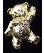 Avon Precious Teddy Goldtone Pin Pendant with Rhinestones - $12.00