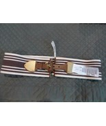 $52.00 Lauren Ralph Lauren Striped Wide Stretch Belt, Brown / Natural - $18.25