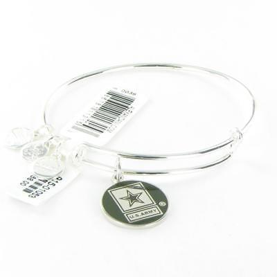 Alex and Ani Armed Forces US Army Expandable Shiny Silver Bangle Bracelet NWT