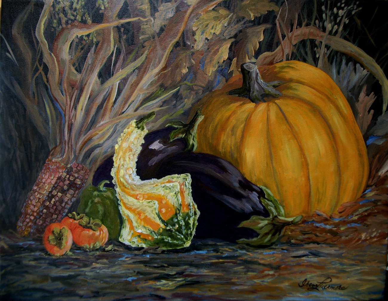 Fall Still Life Pumpkin Corn Persimmon Eggplant Realistic Original Oil Painting
