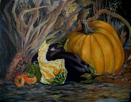 Still Life Pumpkin Persimmon Eggplant Original Oil Painting By Irene Liv... - $550.00