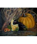 Still Life Pumpkin Persimmon Eggplant Original Oil Painting By Irene Liv... - $550.00