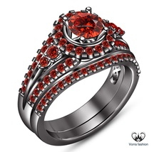 Black Gold Finish Pure 925 Silver Bridal Wedding Ring Set Round Cut Red Garnet - $112.99