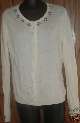 I.C.E ICE angora blend beaded Cardigan Sweater Size M