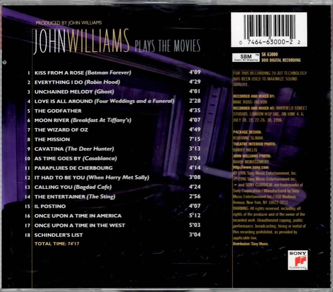 JOHN WILLIAMS PLAYS THE MOVIES CD  RARE