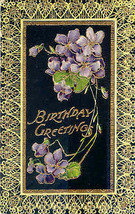 Birthday Greetings Vintage Gelatin Surface  Post Card - $3.00