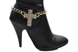 Moda Donna Stivali Oro Catenine Cinturino Argento Perle Scarpe Grande a ... - $23.82